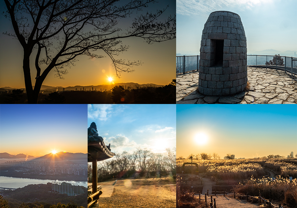 2020 Five pictures showing famous sunrise sites around different areas of the city all surrounded by nature
