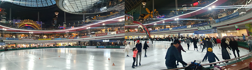 Combination of two pictures of the Lotte World Ice Rink with people skating around