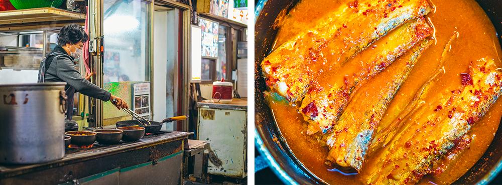 A restaurant owner preparing food next to a picture of served galchi-jorim