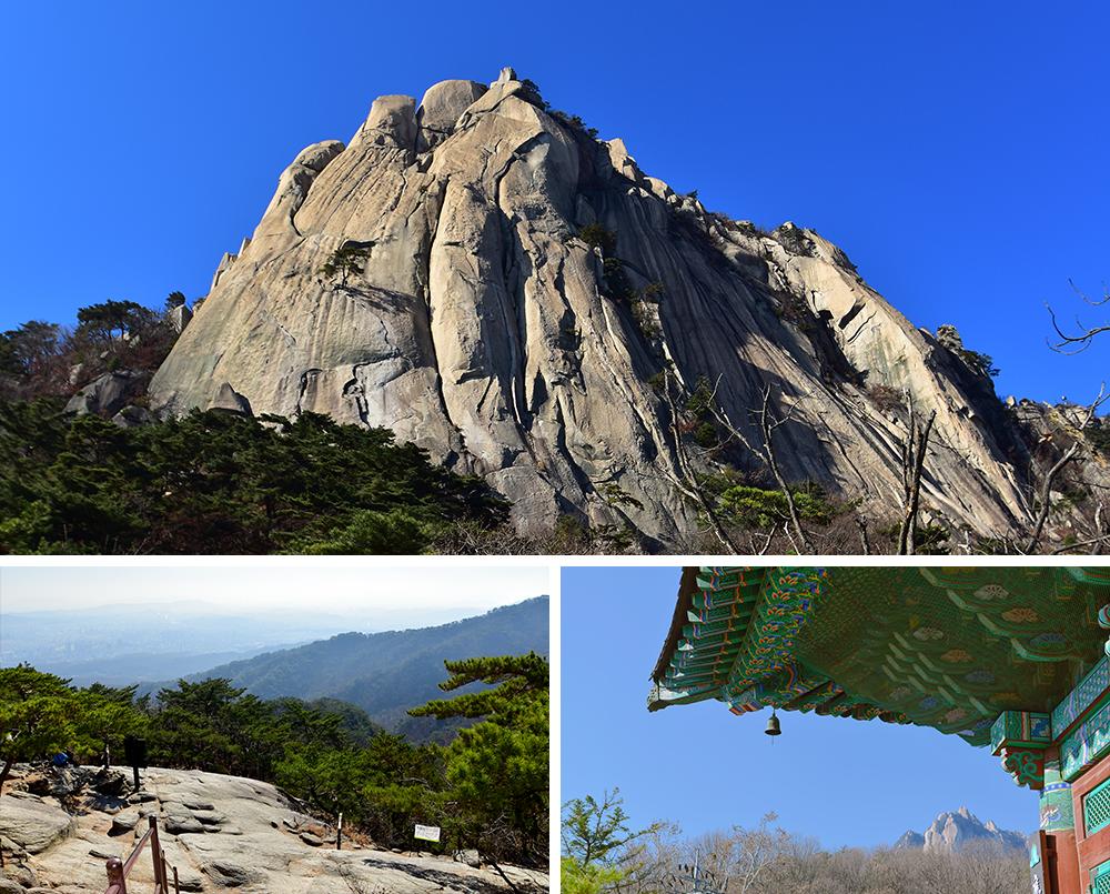 上:トボンサン(道峰山)の峰、左下:登山コースの歩道、右下:寺の屋根