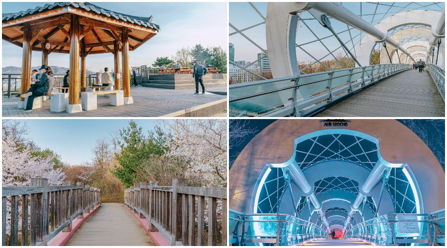左:霜草公園的亭子 右:霜草公園的木板橋 右下:夜晚有燈光的霜草公園