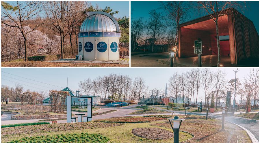 左:春天一字山香子蘭天文公園的鮮花植物 右:天文臺