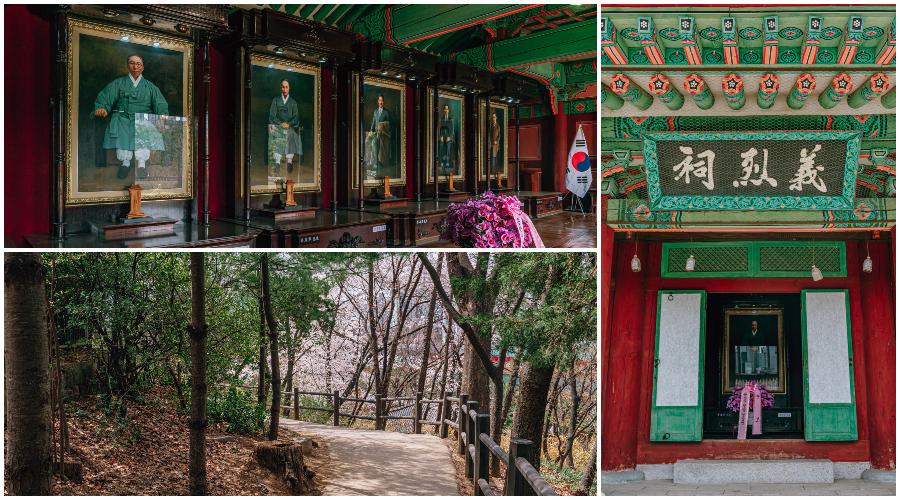 왼쪽 위 사진: 광복절 전사자, 왼쪽 아래 사진: 벚꽃나무로 뒤덮인 효창공원 산책길, 오른쪽 사진: 대한독립운동을 한 사람들이 누워있는 기념관 안으로 들어가는 문