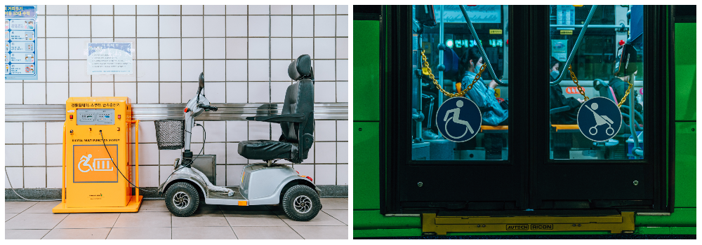 """Left: An electronic wheelchair charging at the wheelchair charging station in the metro; Right: A photo of city-bus doors that have the """"wheelchair"""" and """"stroller"""" accessibility icon."""