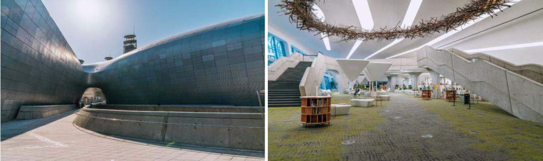 слева- дневной вид на здание Дизайн Плаза, справа- выставочный зал внутри здания Дизайн Плаза с белыми лестницами по обеим сторонам.