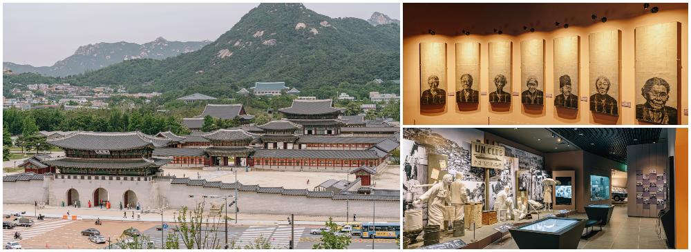 写真3枚のコラージュ、左:大韓民国歴史博物館の8階の屋上から見えるキョンボックンと山の風景、右上:大韓民国歴史博物館の内部展示室に飾れてる写真、右下:大韓民国歴史博物館の内部の展示室の姿
