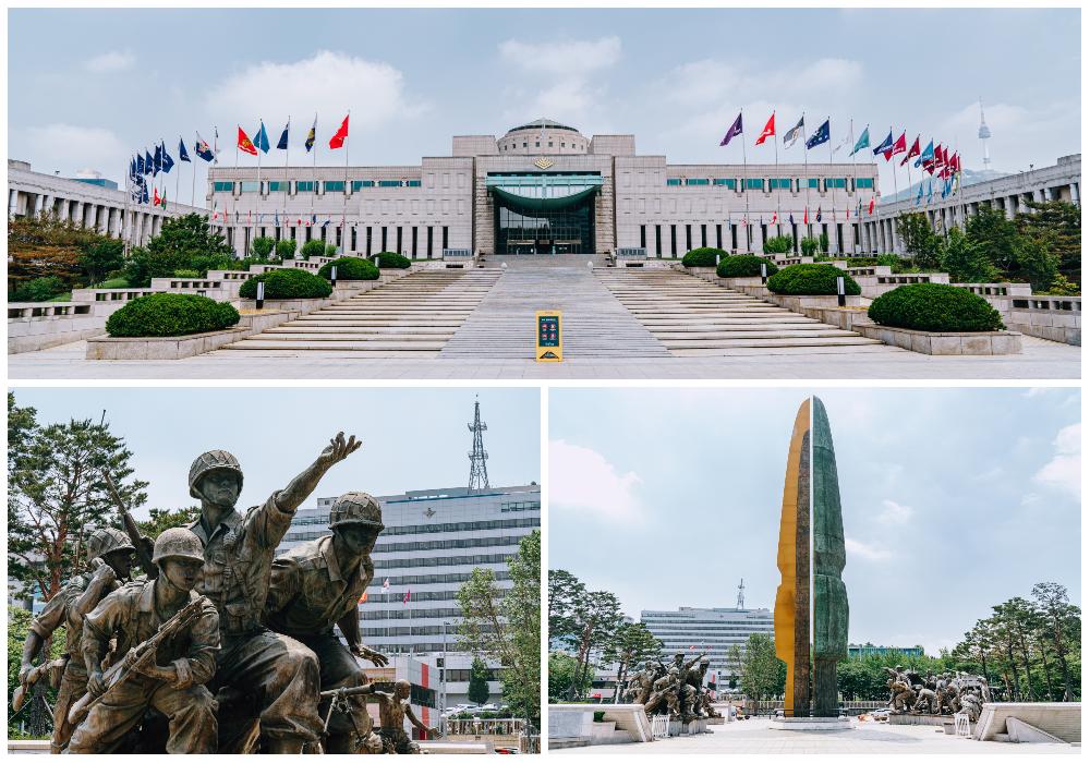 上:戦争記念館の外観、様々な国の国旗が建物を基準にし両サイドに立てられれいる、右下:戦争記念館の建物の外に立っているモニュメント、兵士たちの姿、右下:戦争記念館の外観、625戦争塔の姿