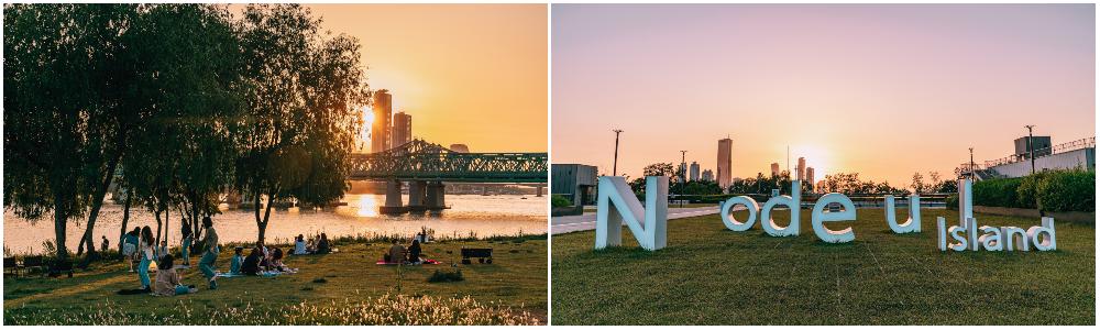 左:鷺得島上野餐的人們及夕陽、右:鷺得島的英文裝置藝術
