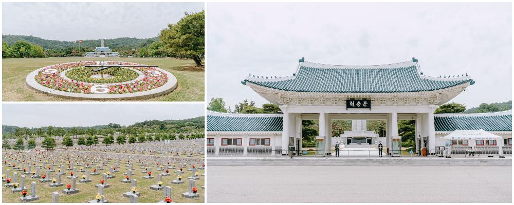 写真3枚のコラージュ、左上:国立ソウル顕忠院の庭園、丸の方をした造形物の中にあるお花と芝生、左下:国立ソウル顕忠院の碑石、右:国立ソウル顕忠院の姿とそれを守ってる二人