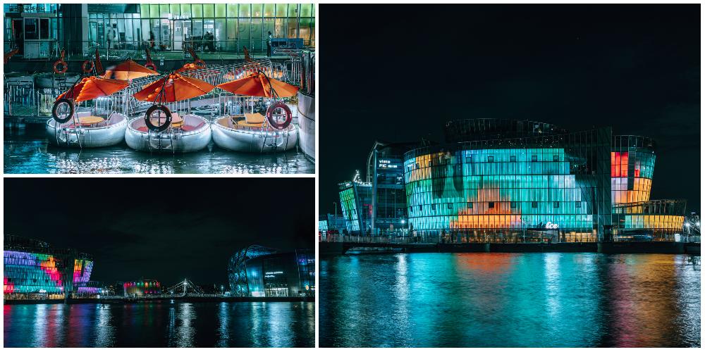 左上:漢江上的遊艇、左下:三光島在同一張照片內閃爍的樣子、右方:島上的照明燈全開,與漢江相映