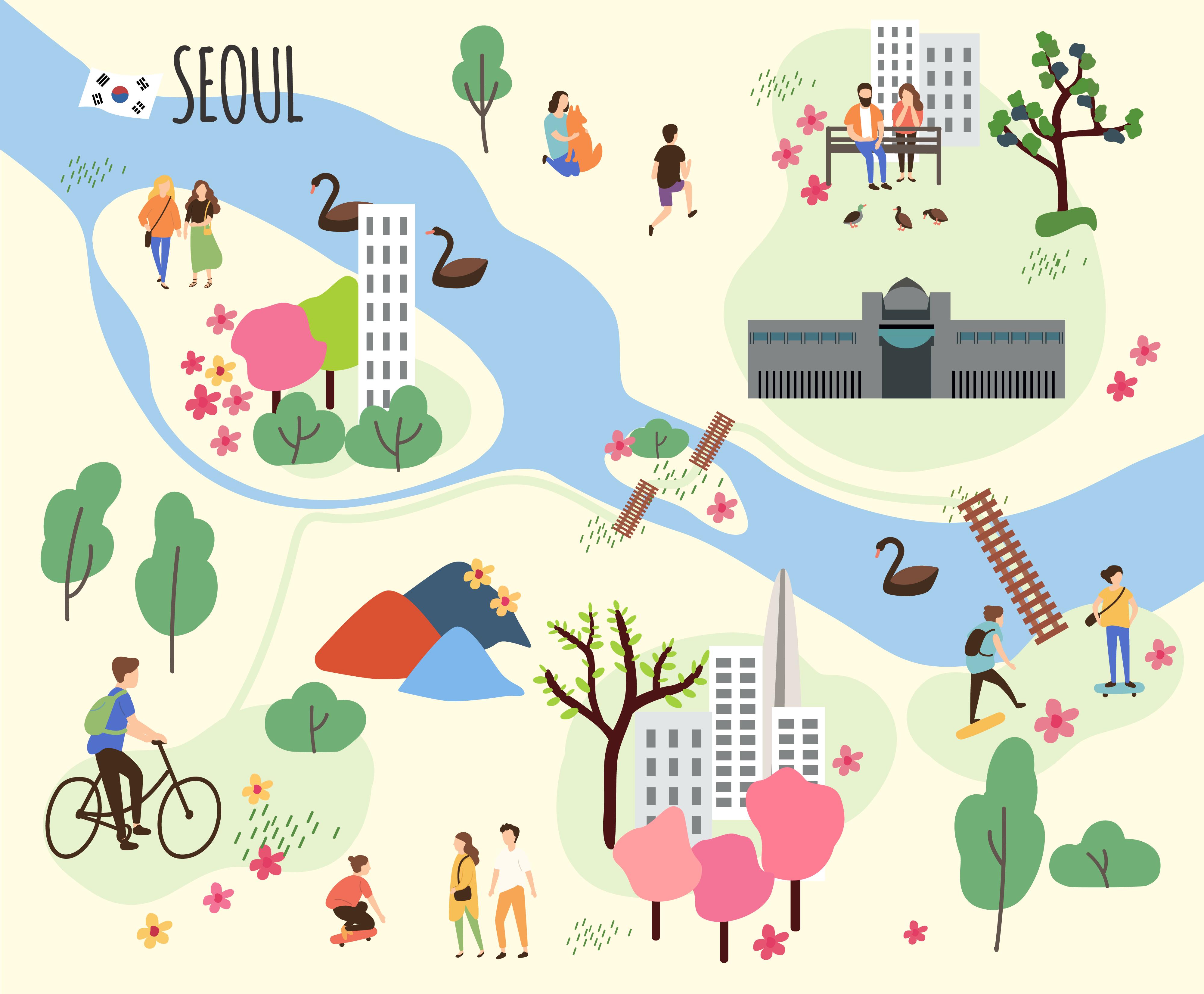 首爾地圖,騎車路線圖