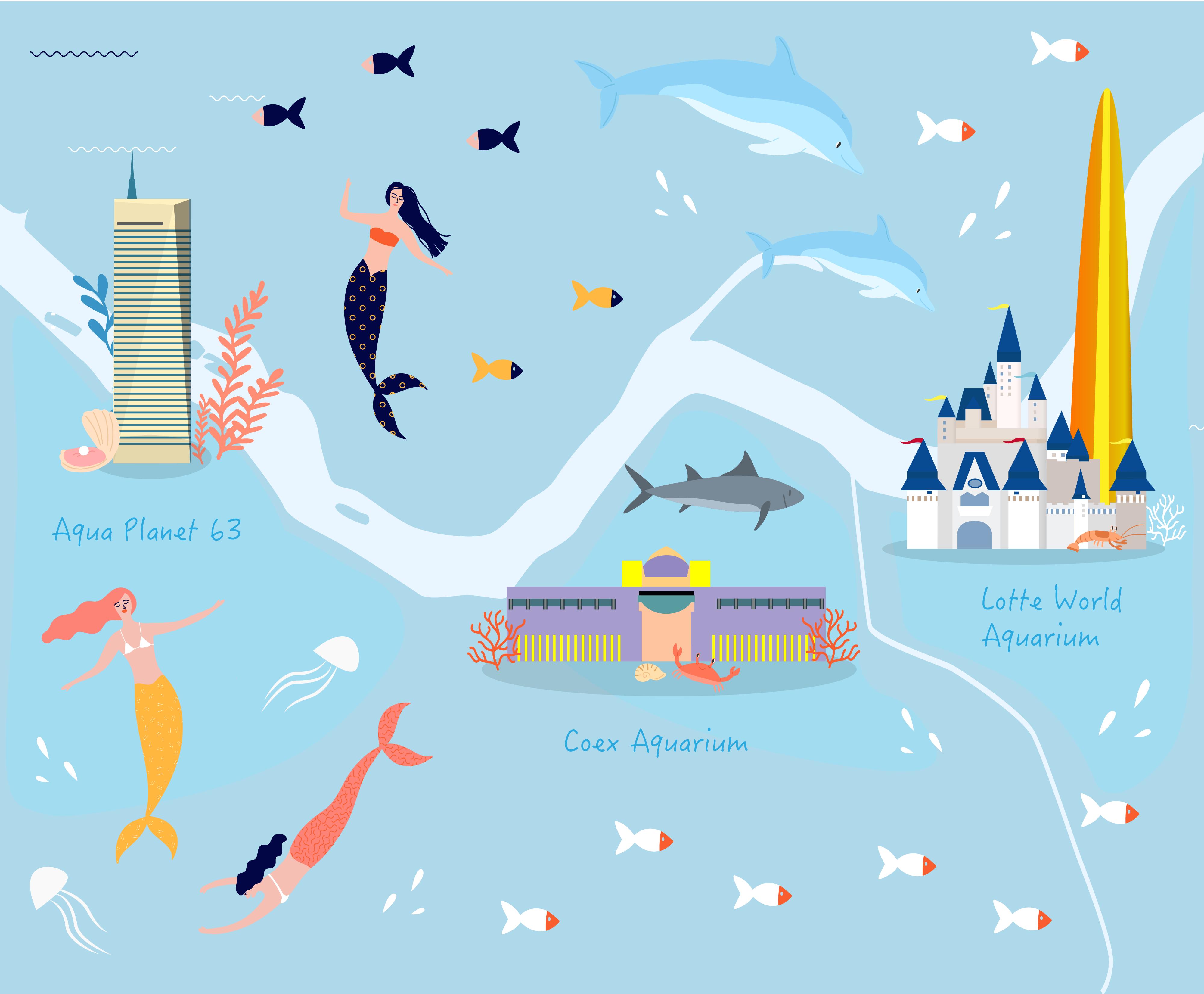 Голубая картинка, которая изображает карту Сеула. На картинке нарисованы русалки, рыбы и здания трех океанариумов, а посередине протекает река Хан
