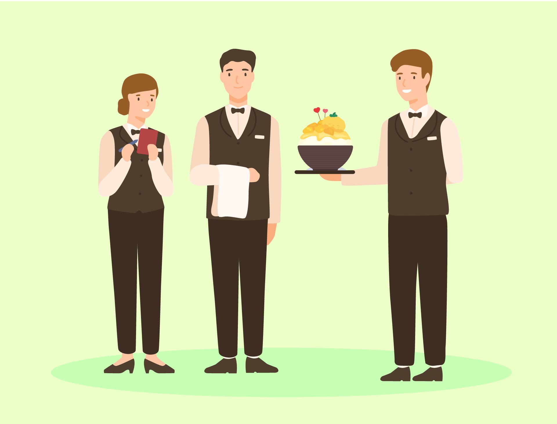 Gambaran seorang pekerja hotel wanita yang memegang bil, seorang pekerja hotel lelaki yang memegang kain meja, dan seorang lagi pekerja hotel lelaki memegang Bingsu Mangga