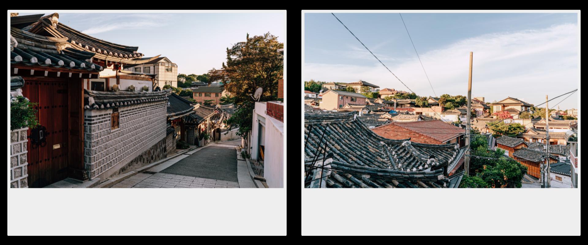 两张立拍得。左为韩屋村的下坡路,左方有韩屋的围墙和瓦屋顶,右为于山上俯瞰的北村韩屋村全景。