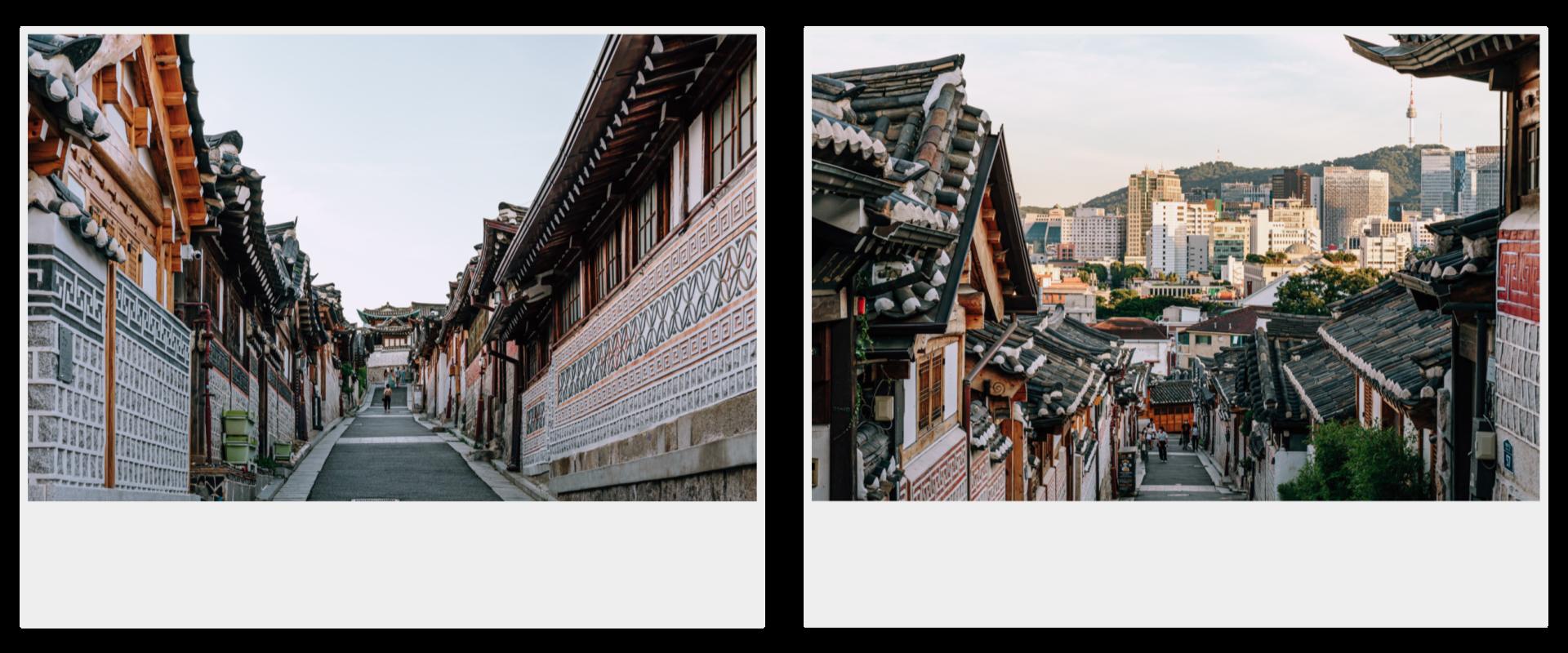 两张立拍得。左为从底处仰望的北村韩屋村小巷,右为从高处俯瞰的北村韩屋村小巷。
