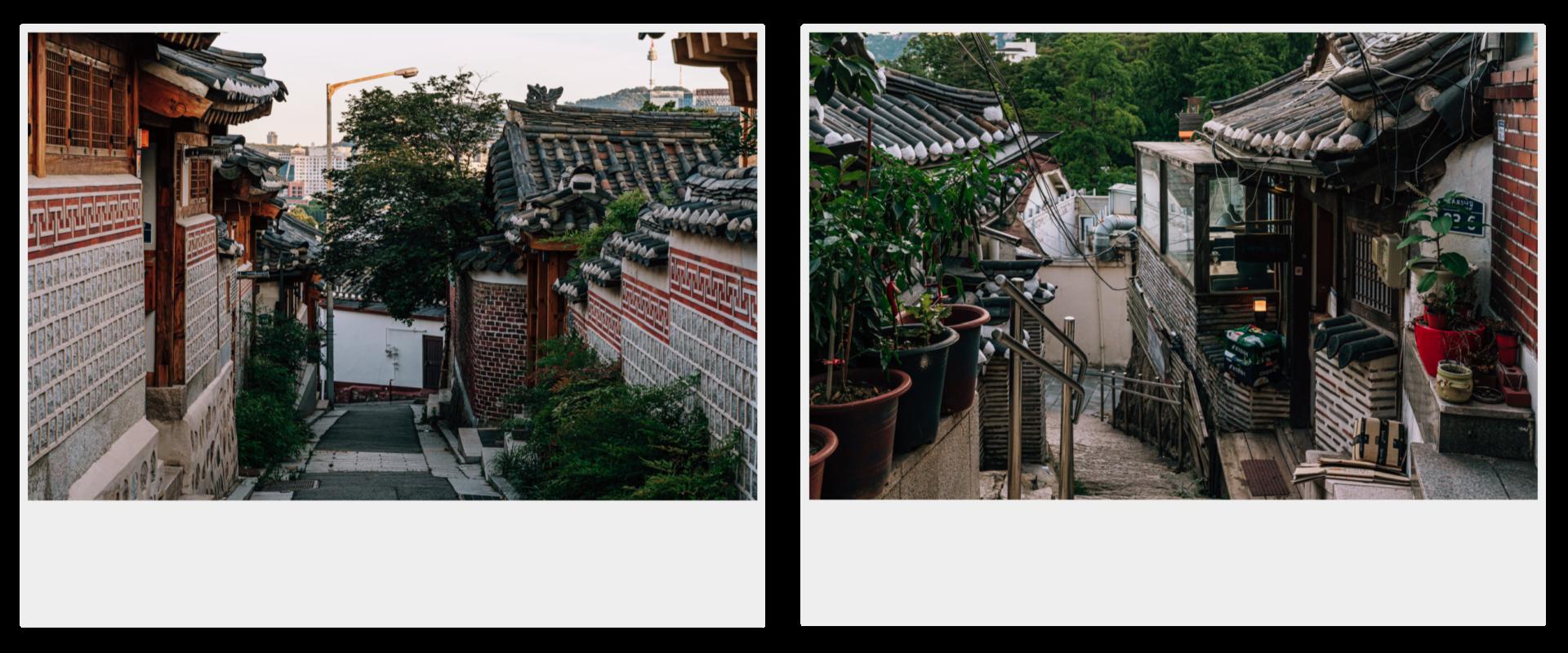 两张立拍得。左为韩屋村中的窄巷,右为韩屋旁的石楼梯。