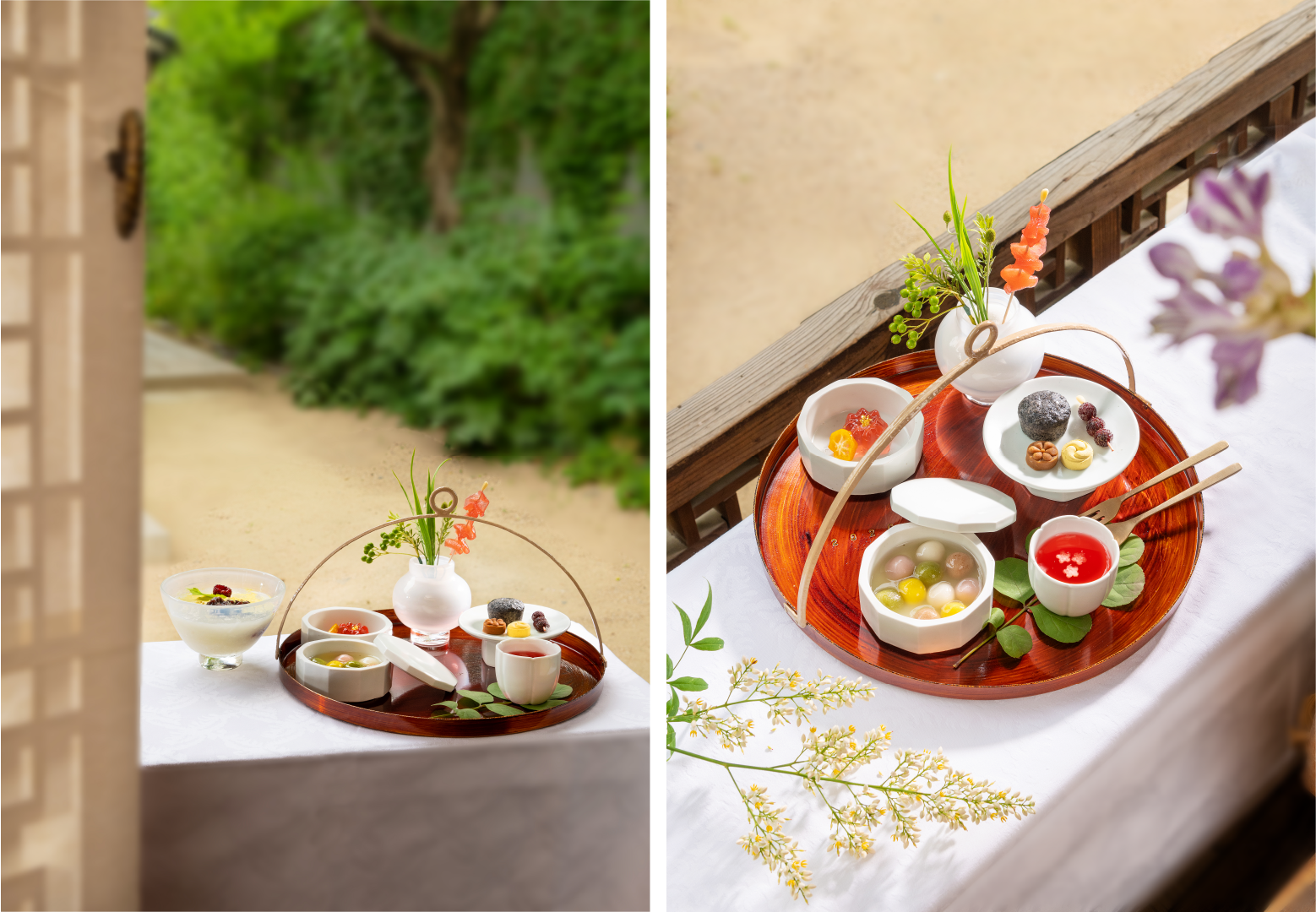 Коллаж из двух фотографий. На фото слева можно увидеть сладости на деревянном круглом подносе, который виднеется из окна традиционного дома Ханок. На фото справа - корейские традиционные сладости на деревянном круглом подносе, стоящем на столе, покрытом белой скатертью.