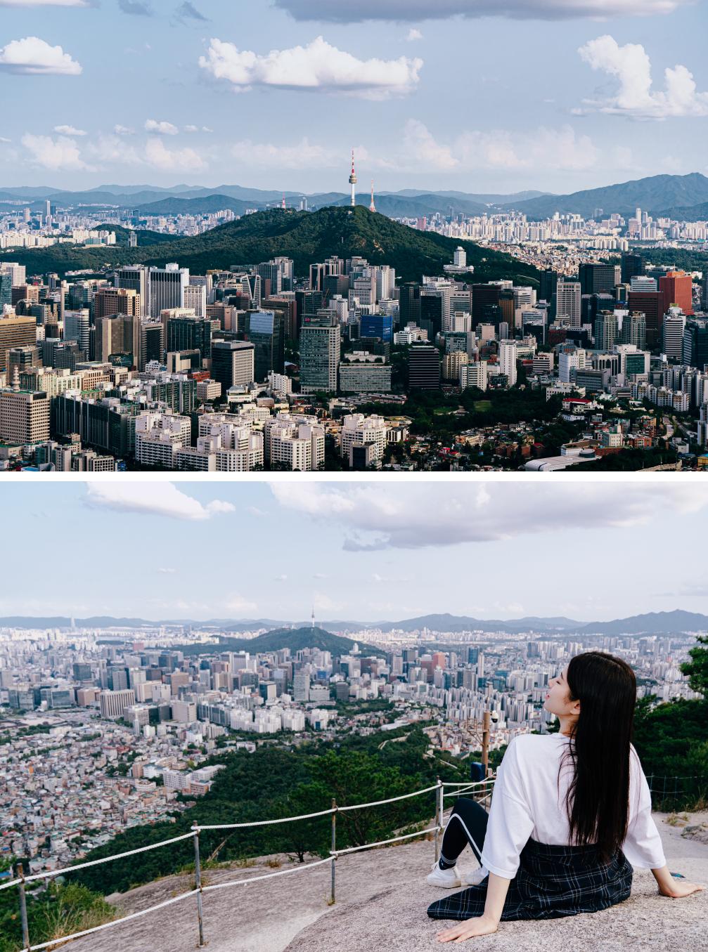 사진 두개의 합. 위에는 인왕산 정상에서 내려다 본 서울의 전망. 아래 사진은 정상 돌 위에 휴식을 취하고 있는 여자가 있다.