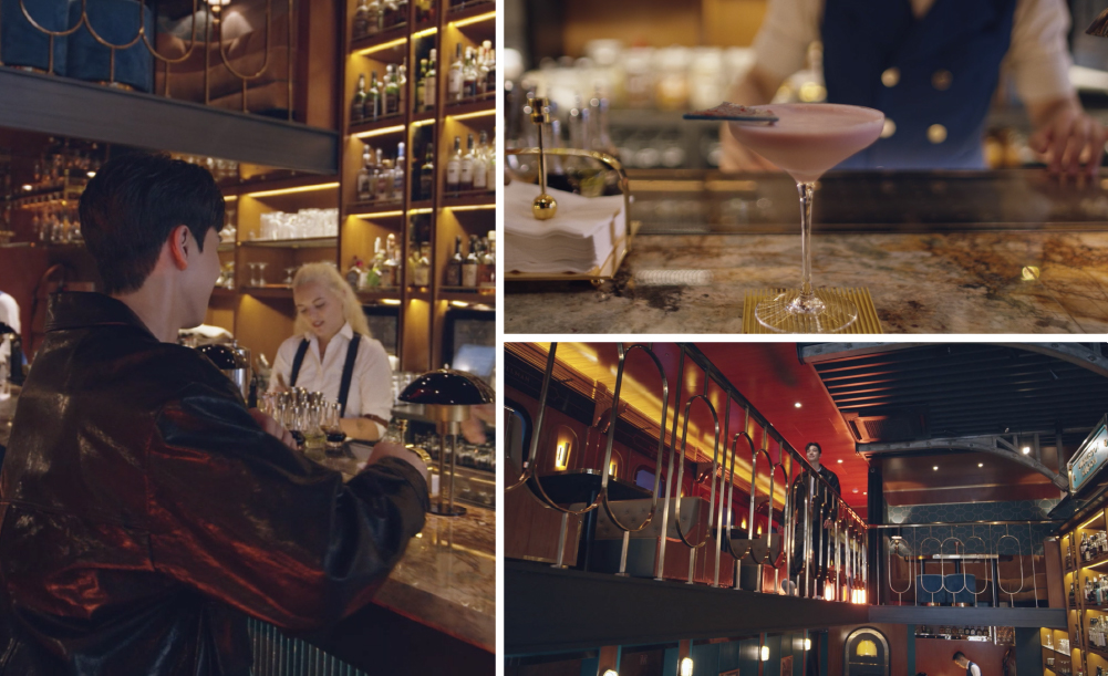 A combination of three pictures. In the large photo on the left, actor Song Kang is sitting at a bar. The upper right photo shows a pink cocktail, and the lower right shows actor Song Kang walking towards the railing inside the Pussyfoot Saloon.
