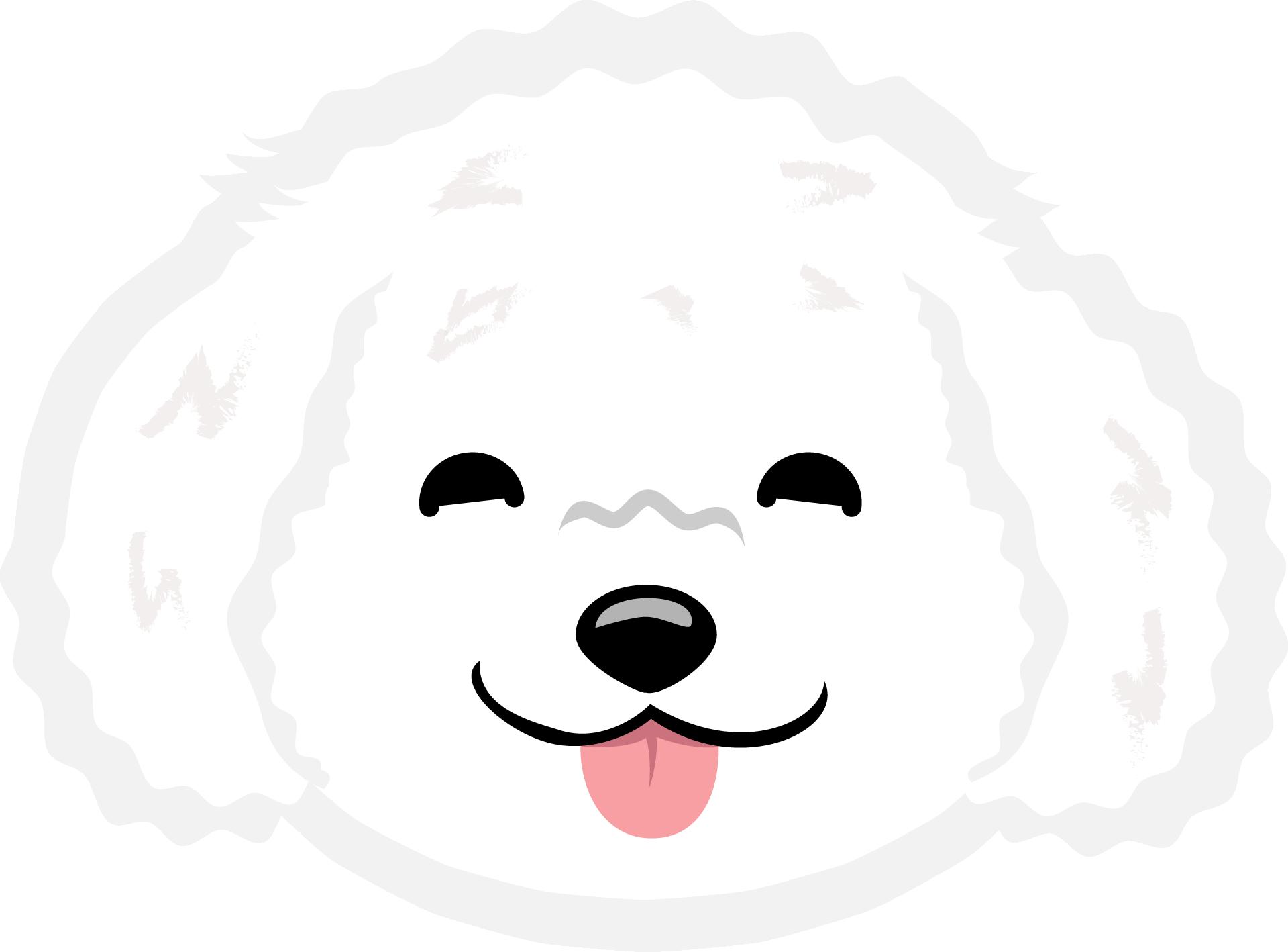 Картинка мордочки белого щенка с высунутым языком