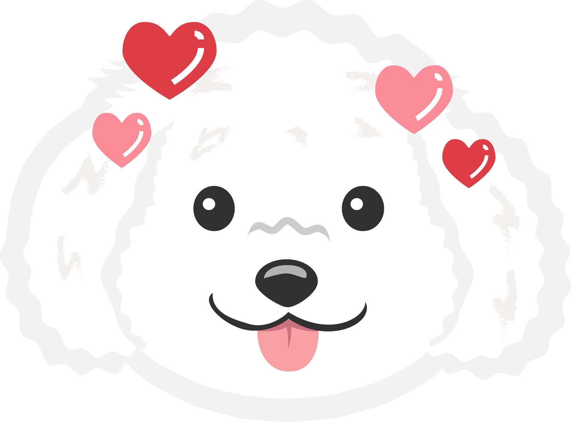 Картинка мордочки белого щенка с высунутым языком, окруженная розовыми и красными серчдечками